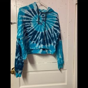 Tie-dyed blue and white sweater hoodie